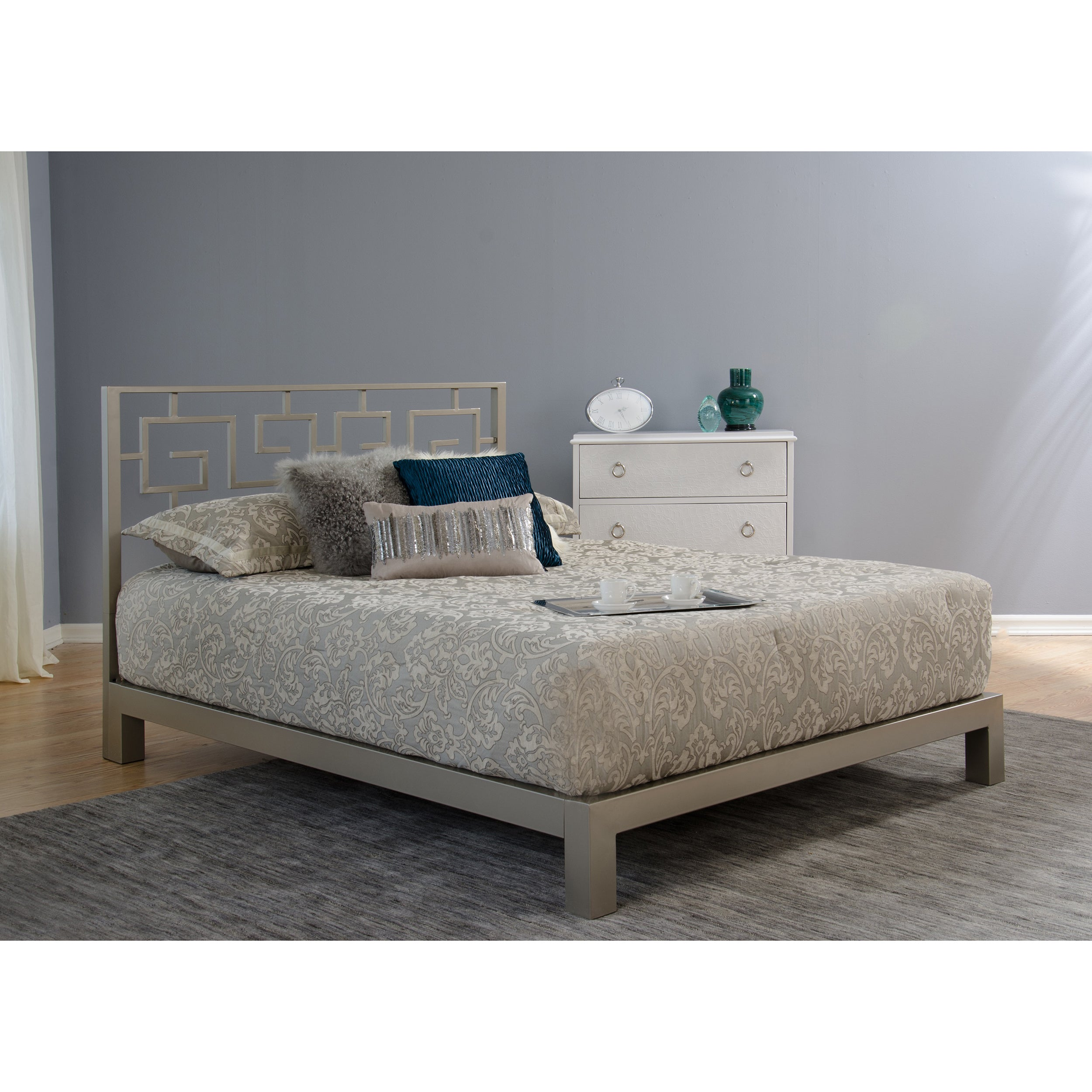 Motif design greek key metal headboard and aura gray platform bed