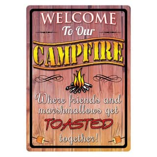 Rivers Edge Products 12-inch x 17-inch Tin Sign Welcome To Our Campfire|https://ak1.ostkcdn.com/images/products/10379383/P17484838.jpg?impolicy=medium