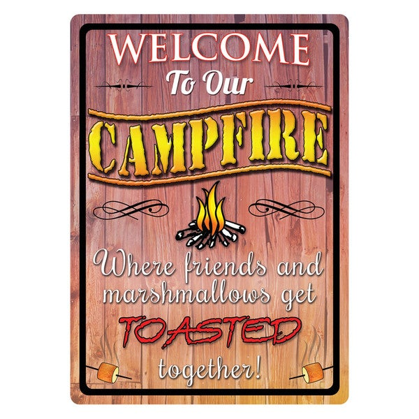 Rivers Edge Products 12-inch x 17-inch Tin Sign Welcome To Our Campfire