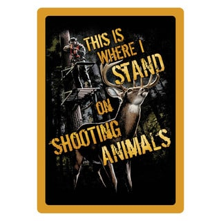 Rivers Edge Products 12-inch x 17-inch Tin Sign Shootin' Animals