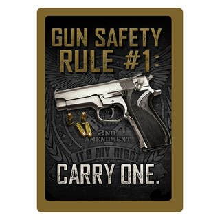 Rivers Edge Products 12-inch x 17-inch Tin Sign Gun Safety #1 https://ak1.ostkcdn.com/images/products/10379393/P17484851.jpg?impolicy=medium