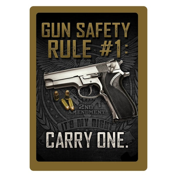 Rivers Edge Products 12-inch x 17-inch Tin Sign Gun Safety #1