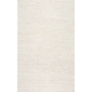 nuLOOM Handmade Braided Cable White New Zealand Wool Rug (6' x 9') in White (As Is Item)
