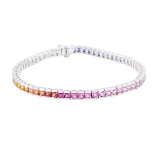 14k white gold multi sapphire bracelet