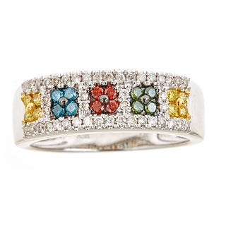 14k white gold multi color diamond ring