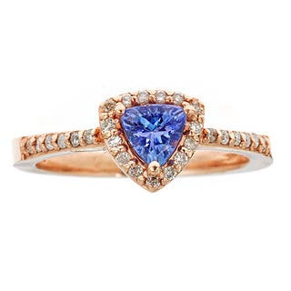 14k Rose Gold Tanzanite and White Diamond Ring