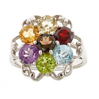 Multi Semi precious sterling silver ring