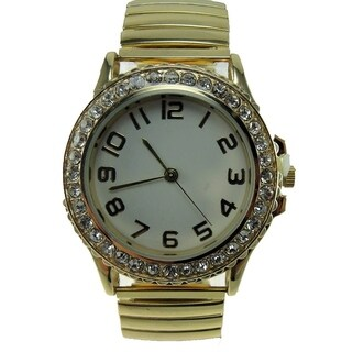 Women's Goldtone Stretch Band Watch with Crystal Bezel and White Easy Read Dial