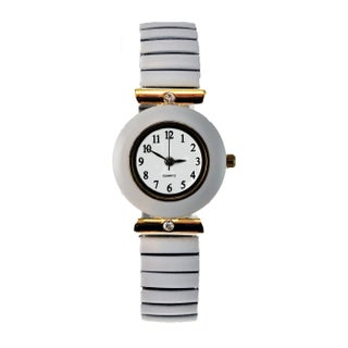 Women's Crystal Accents Floral Stretch Band Watch