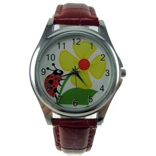 Women's Ladybug Watch Yellow Flower Dial Red Faux Leather Band