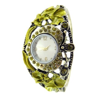 Women's Antique Goldtone and Green Crystals Hinged Bangle Watch