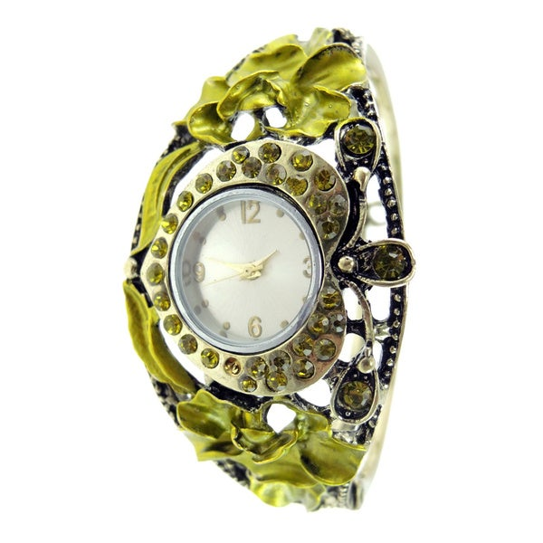 Women's Vintage Green Crystals Hinged Bangle Watch Heart Shaped Dial