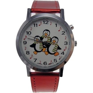 Women's Shiny Red Faux Leather Band Musical Christmas Watch