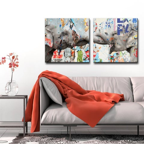 Ready2HangArt 'Saddle Ink Elephant VI' Canvas Wall Art - Grey