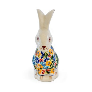 Handmade Stoneware Heirloom Garden Bunny Sculpture (Poland)
