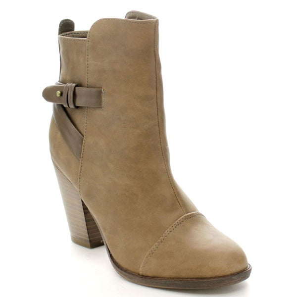 Breckelle's Heather-32 Women's High Top Belted Chunky Stacked Heel Ankle Booties