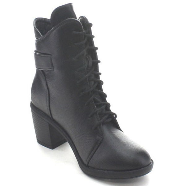 Wild Diva Essence-50 Women's Buckle Strap Lace Up Chunky Combat Ankle Booties