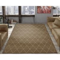 Ottomanson Jardin Collection Grey Contemporary Trellis Design Indoor/ Outdoor Area Rug
