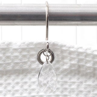 Elegant Clear Faceted Tear Drop Shower Curtain Hooks (Set of 12)