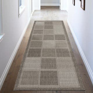 Ottomanson Jardin Collection Grey Contemporary Boxes Design Indoor/ Outdoor Area Rug (2'7 x 7') https://ak1.ostkcdn.com/images/products/10379598/P17485008.jpg?impolicy=medium