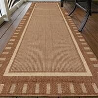 "Ottomanson Jardin Collection Brown Contemporary Bordered Design Indoor/ Outdoor Area Rug (2'7 x 7') - 2'7"" x 7'"