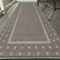 Ottomanson Jardin Collection Grey Contemporary Bordered Design Indoor/ Outdoor Area Rug (2'7 x 7')