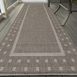 Ottomanson Jardin Collection Grey Contemporary Bordered Design Indoor/  Outdoor Area Rug (2u00277