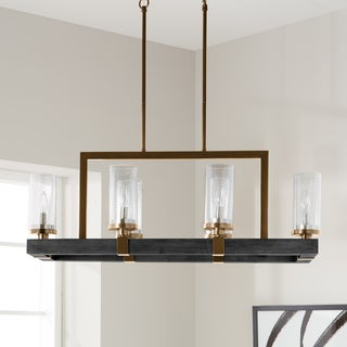The Gray Barn Vineyard Metal And Wood 6 Light Chandelier With Seeded Gl Shades