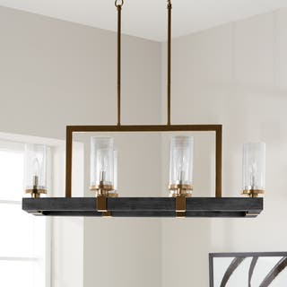 Vineyard Metal And Wood 6 Light Chandelier With Seeded Gl Shades