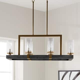 Vineyard Metal And Wood 6 Light Chandelier With Seeded Glass Shades