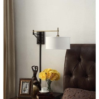 I Love Living Antique Brass and Bronze Swing Arm Wall Sconce Fixture