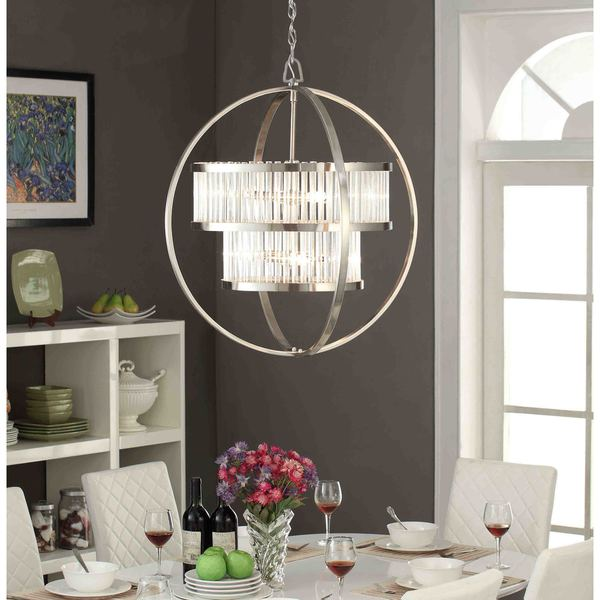 Brushed Nickel Crystal Orb 6 Light Chandelier