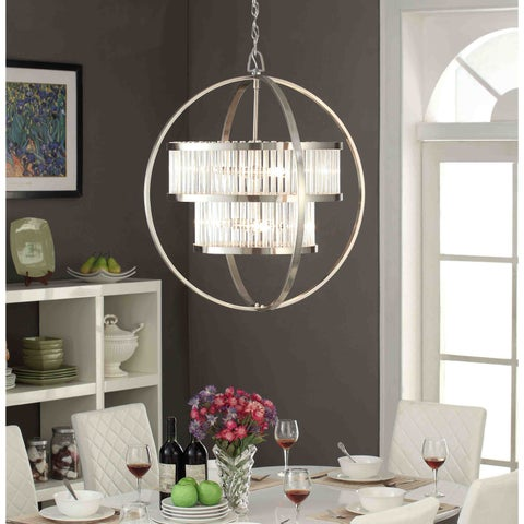 Brushed Nickel Crystal Orb 6-light Chandelier
