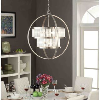 brushed nickel crystal orb 6 light chandelier - Dining Room Light Fixture Glass