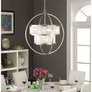 brushed nickel crystal orb 6 light chandelier - Brushed Nickel Dining Room Light