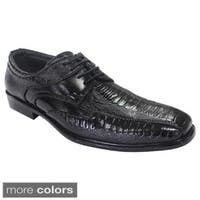 Parrazo Men's Faux Leather Round-toed Lace-up Dress Oxford Shoes