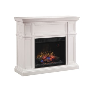 ClassicFlame 61693 White Artesian Wall Fireplace Mantel with 28-inch Infrared Quartz Fireplace