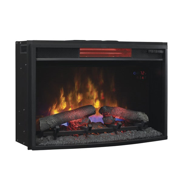 Classicflame 25ii310gra 25 Inch Curved Infrared Quartz Fireplace Insert With Safer Plug Free