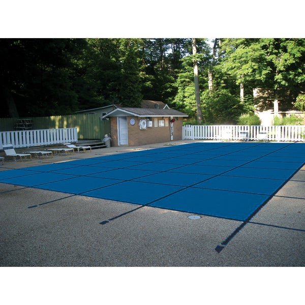 Water Warden Safety Pool Cover for 18' x 36' In Ground Pool Blue Mesh Left Side Step