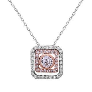 La Preciosa Sterling Silver and Rose-Plated Cubic Zirconia Double Square Necklace