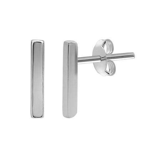 La Preciosa Sterling Silver Small Vertical Bar Stud Earrings