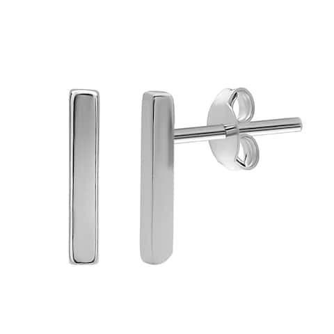 La Preciosa Sterling Silver Small Vertical Bar Stud Earrings