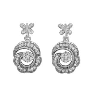 La Preciosa Sterling Silver Cubic Zirconia Scalloped Dangle Earrings