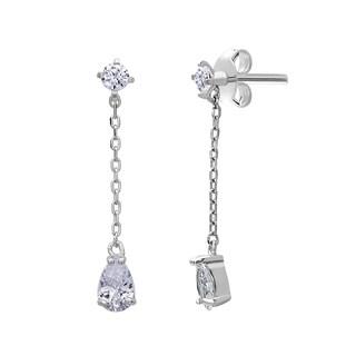 La Preciosa Sterling Silver Hanging Chain Cubic Zirconia Earrings