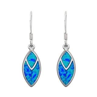 La Preciosa Sterling Silver Blue Opal Dangle Earrings