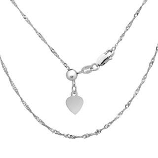 La Preciosa Sterling Silver Adjustable Singapore Heart Bolo Chain