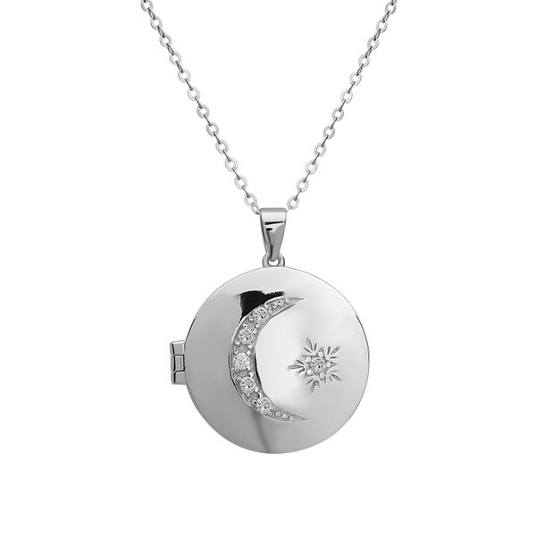 La Preciosa Sterling Silver Cubic Zirconia Moon and Star Circle Locket