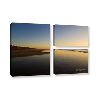ArtWall Lindsey Janich 'Equihen Plage ' 3 Piece Gallery-wrapped Canvas Flag Set