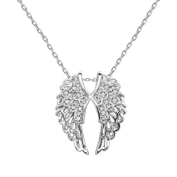 La Preciosa Sterling Silver Cubic Zirconia Double Angel Wing Pendant