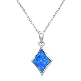 La Preciosa Sterling Silver Blue Opal Square Pendant